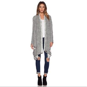 Free People Loop Knit Raw Trim Grey Open Cardigan